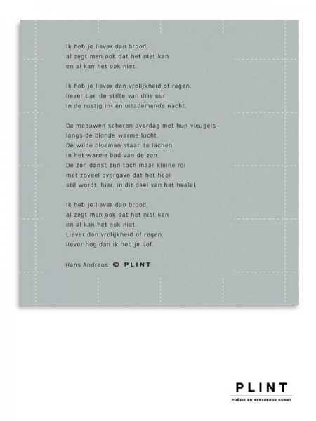 Plint servet 'Ik heb je liever dan brood' Hans Andreus