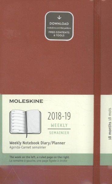 Moleskine Wochen Notizkalender, 18 Monate, 2018/2019 Large/A5, Hard Cover, Scharlachrot
