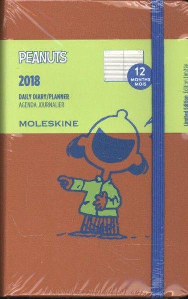 Moleskine 12 Monate Peanuts Tageskalender 2018, A6 Hard Cover, Rot